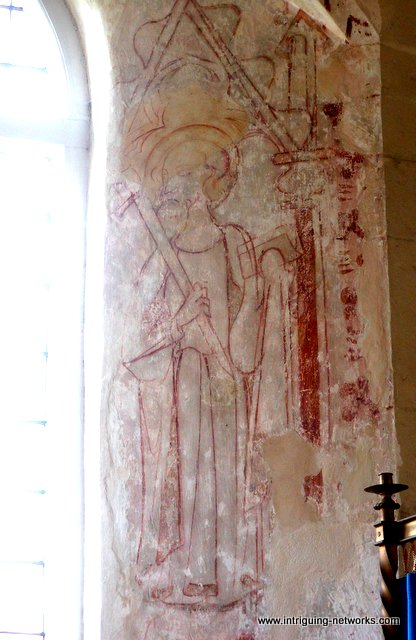 Medieval wall painting of St Paul