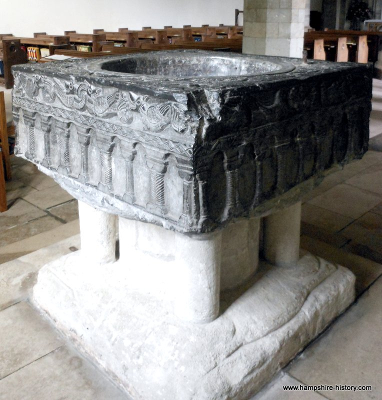 Tournai font in All Saints East Meon Hampshire