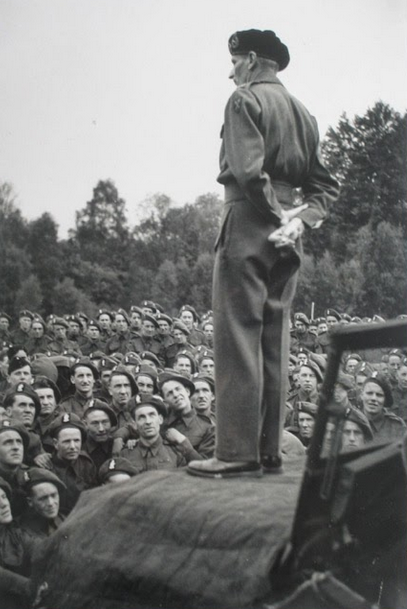 Field Marshall Montgomery addresses troops of 2nd Battalion Royal Ulster Rifles at Droxford