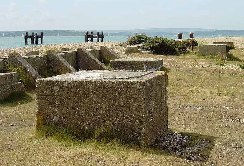 The remains of the construction of the caissons at Lepe with slipway