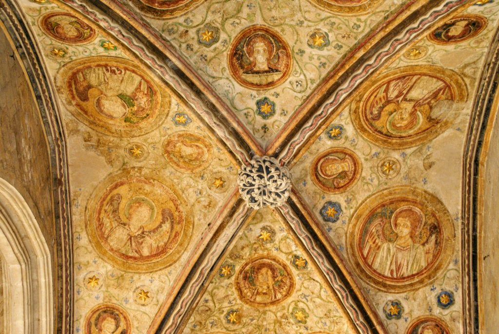 Painted ceiling of the Guardian Angel's Chapel Winchester